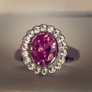 Pink stone with cz halo sz 6